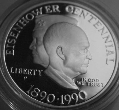* 1990-P Commemorative Eisenhower 90% Silver Proof $1 COIN ONLY