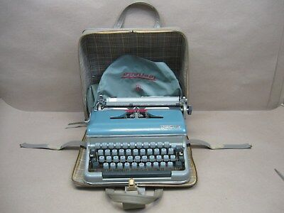 Vtg Torpedo Typewriter West Germany Working 18b 1961 Qwerty? & Case & Dust Cover