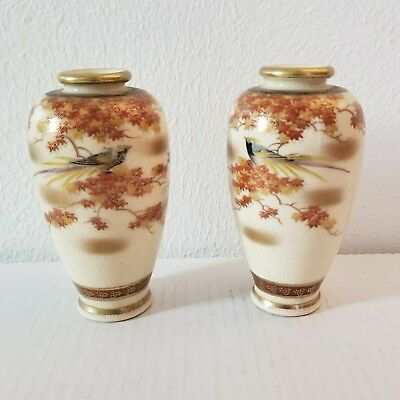 "Satsuma Japanese Pair Small Vases with Birds All Over Design 5"" Tall"