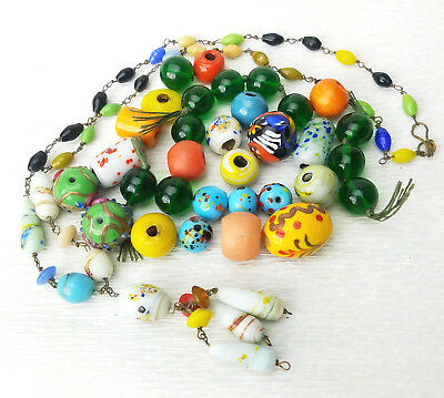 Vintage Antique Mixed Lot Venetian Czech India Handmade Glass BEADS & Necklace