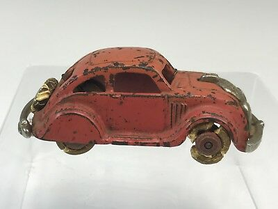 Antique Painted Cast Iron Toy Red Car w/ Rubber Wheels