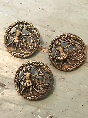 Antique Brass Hoop Rolling Victorian Button Set Of 3 Large Victorian Game Girl