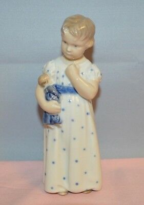 """Royal Copenhagen Fig. #3539 """"child Holding Doll Standing"""" In Excellent Condition"""