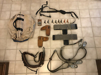 lineman belt, tool bag, climbing pads, pole strap, replace gaffs, suspenders