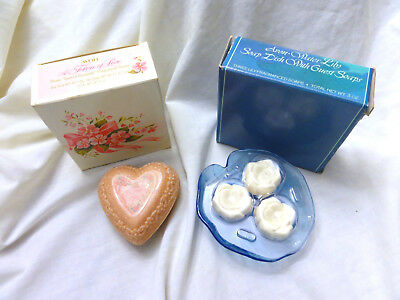 Vintage AVON Water Lilly Dish with 3 Soaps & Token of Love 3 Heart Soaps