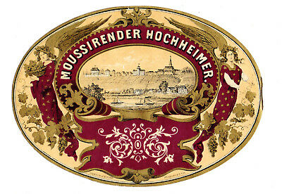 1870's KUPFERBERG & KEMPF,  MAINZ, GERMANY MOUSSIRENDER HOCHHEIMER WINE LABEL