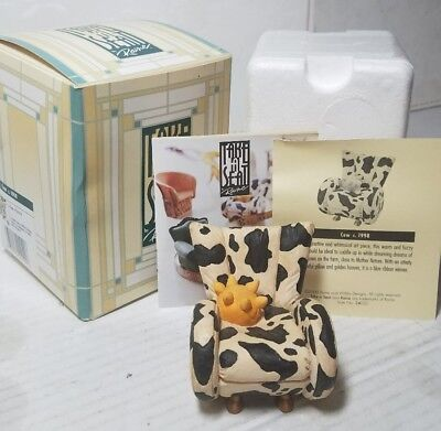 Take A Seat by Raine - Cow, for standalone display or doll's house NICE COA!1998
