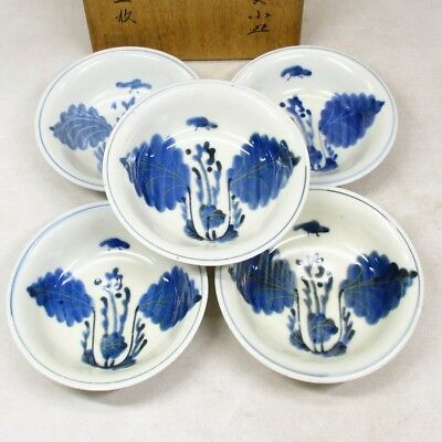 B910: Chinese five small plates of old blue-and-white porcelain of good pattern