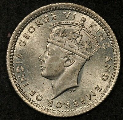 1943 Malaya 5 Cents Lustrous Uncirculated