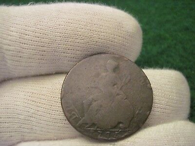 1775 Half Penny Used In Early America Revolutionary War Era Colonial Coin