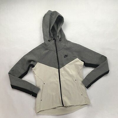 6bec5a58126f Nike Tech Fleece Full Zip Hoodie White Grey Black 842845-093 Women s Large  L NEW