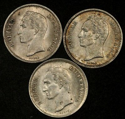 1946 + 2x 1948 VENEZUELA 1/4 BOLIVAR LOT OF (3) COINS UNCIRCULATED