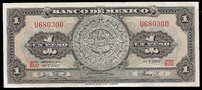 1967 $1 Mexican Peso money bill from Mexico Aztec calendar old currency ABNC UNC