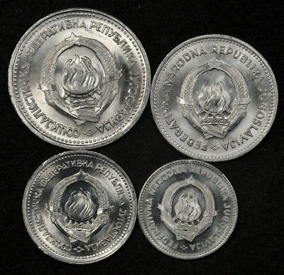 1953 & 1963 Yugoslavia 50 Para, 1 Dinar, 2 + 5 Dinara (4 Coin Lot Uncirculated)