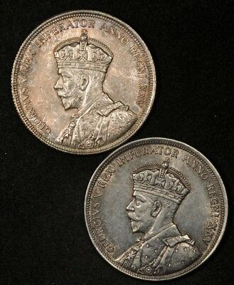 1935 Canada Lot Of (2) Silver Dollars Uncirculated & Xf