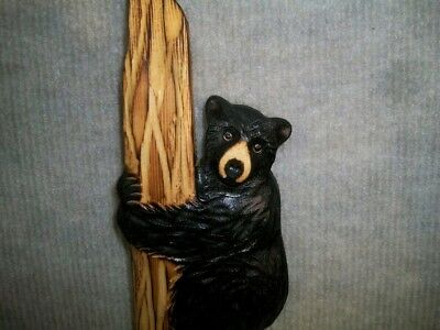 Hand Carved BLACK BEAR CUB up TREE Wall Art Chainsaw Wood Carving Cabin Wooden