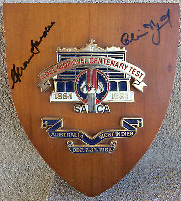 Adelaide Oval Centenary Test Plaque Autographed, Alan Border & Clive Lloyd