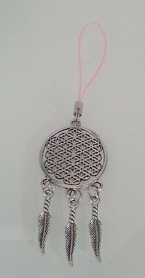 "Handmade Metal Dream Catcher with Metal Feathers Strap Charm Mascot 2.5"" L"
