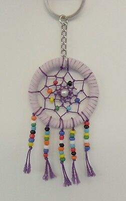 Handmade Purple Dream Catcher w/ Beads Hanging Decoration Ornament Gift Key Ring