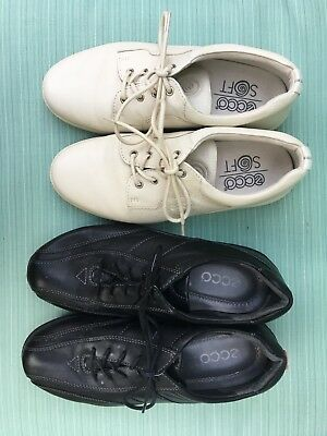 Ecco Women's Black and Beige Shoes Lot of 2, Size 6.5/37