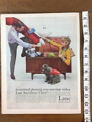 1959 LANE FURNITURE SWEETHEART WOODEN CHEST Vintage Print Advertising Ad