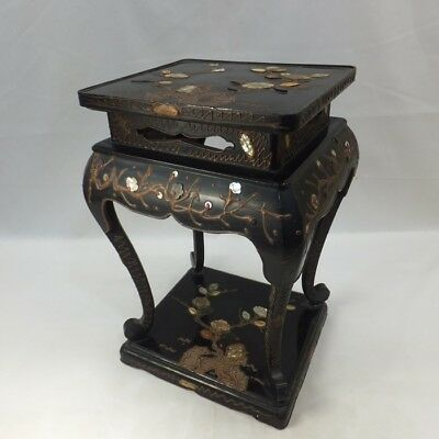 D026: Chinese old lacquered decorative stand w/fine work of mother-of-pearl, etc