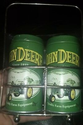 JOHN DEERE TIN SALT AND PEPPER SHAKER IN HOLDER Brand New with chrome holder