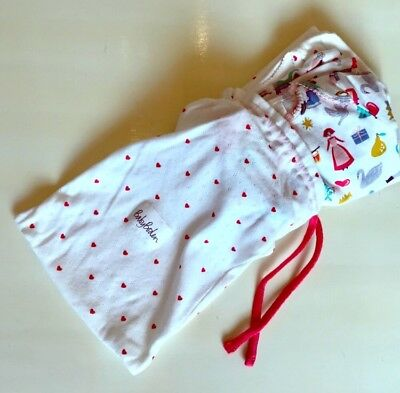 Baby Boden Pointelle Knit Pajama Bag Heart Print Valentines Day Storage Gift