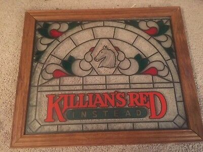Killians Irish Red Beer Sign Vintage Stained/etched glass