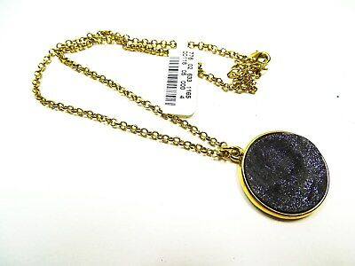 NEIMAN MARCUS Stunning Gold Plated Metal Black Agate Druzy Pendant Long Necklace