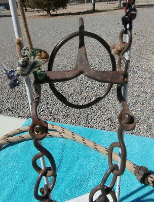 Old Antique Very Unusual Horse Ring Bit Bridle Heavy Fringed Reins