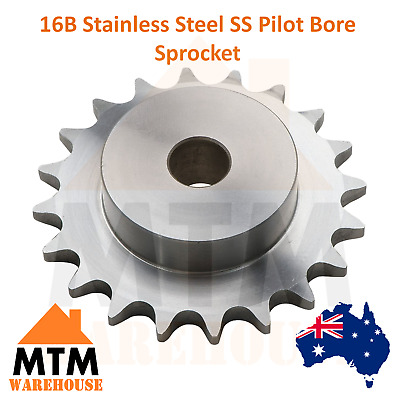 16B Stainless Steel SS Pilot Bore Sprocket 23, 25, 27 30 & 38 Tooth