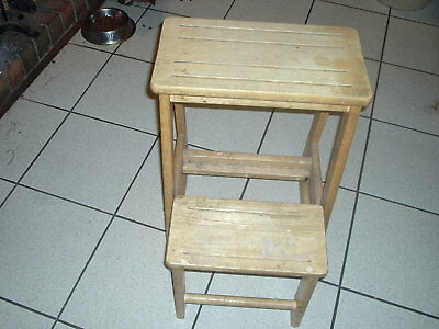 stool wooden pine with step