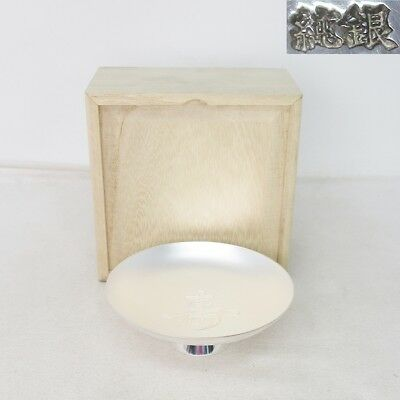 B979: Real Japanese SAKE cup of pure silver (fine silver 999) 66.3 g with box