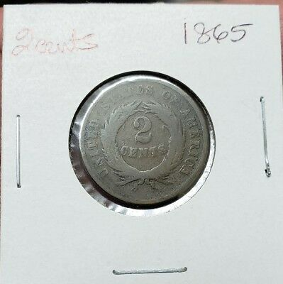 1865 Two cents, Key date, Estate sale, Free Shipping