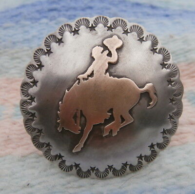 Saddle Horn Bucking Bronc Bronco Brass Silver Concho maker stamped