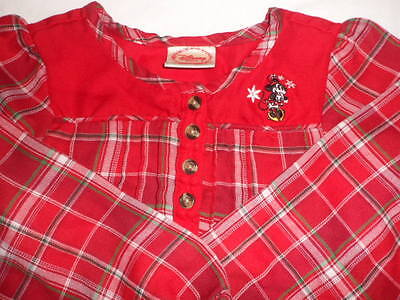 Girl's Disney Minnie Mouse Red Flannel Plaid Nightgown Christmas Holiday   7/8