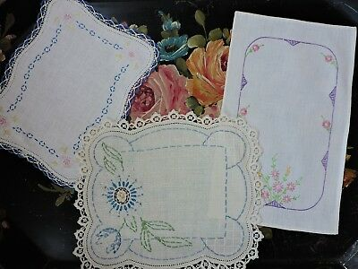 Vintage French style doilies with lace & embroidery ( lot of 3)
