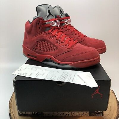 26aa462b4fc Nike Air Jordan Retro V Red Suede Flight Suit Raging Bull Size 12 136027  602 XI