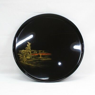 D058: Japanese old lacquered circular tray with wonderful TOGIDASHI-MAKIE. 5/9
