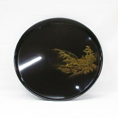 D059: Japanese old lacquered circular tray with wonderful TOGIDASHI-MAKIE. 6/9