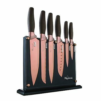 New England Cutlery NE8807 7 Piece Titanium-Coated Knife Set with Invisible Wood