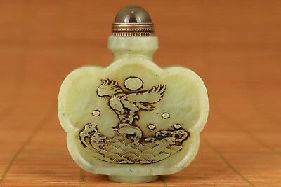 antique chinese old Natural Hetian Jade Hand Carved eagle Statue Snuff bottle