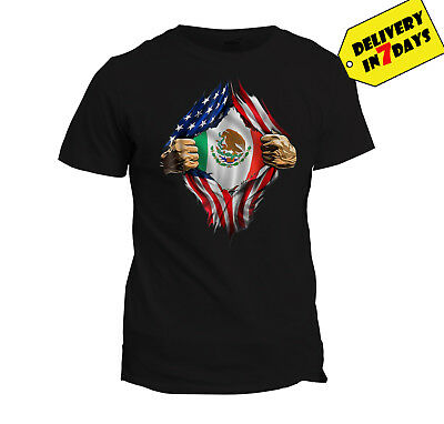 Mexican blood inside me T shirt Mexican American flag tee