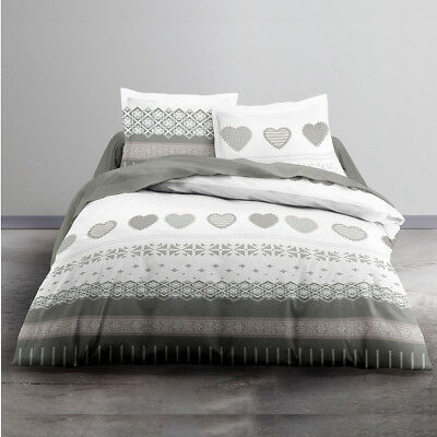 Housse de couette 220x240 + 2 taies ENJOY COURCHEVEL 100% coton 57 fils - Blanc,
