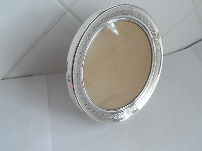 Vintage Round Silver Photo Frame Hm 800 Grade - Engraved Decoration - 5.25 Inch