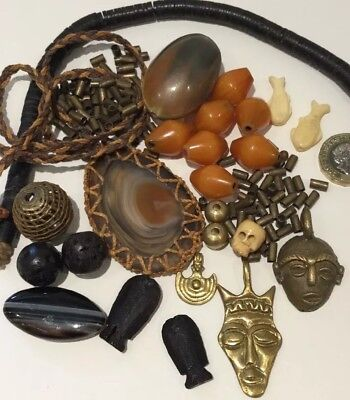 Ethnic African Beads Agate Baule Brass Masks African Amber Carved wood Job Lot