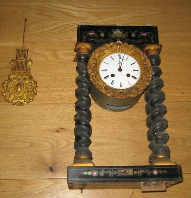 Vintage French Portico / Turned Wood Column Clock Works & Pendulum - Spares