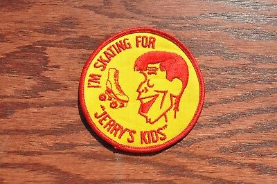 "Vintage I'm Skating for Jerry's Kids Patch Yellow 4"" 1980's Muscular Dystrophy"