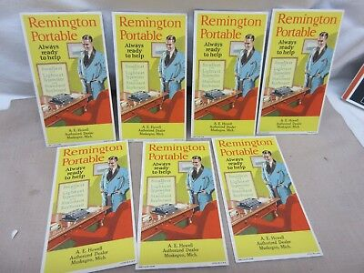 7 UNUSED Vintage Remington Portable Typewriter Ink Blotters